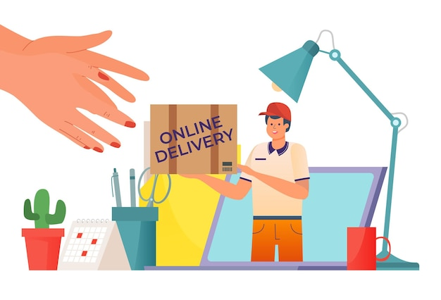 Fast delivery courier with box package at laptop illustration