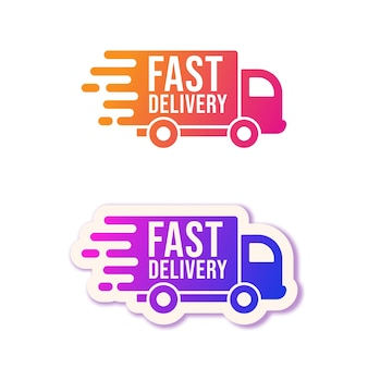 Быстрая доставка. набор логотипов для грузовиков