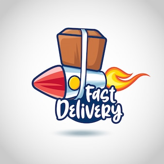 Fast delivery design concept with package in a rocket vector sticker