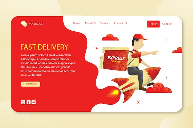 Fast delivery design template landing page