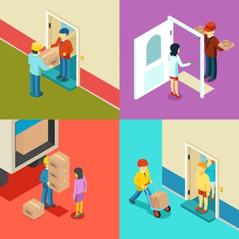 Fast delivery flat isometric concept.