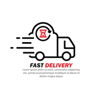 Fast delivery icon. distriution service, express transportation. hourglass sign. vector on isolated white background. eps 10
