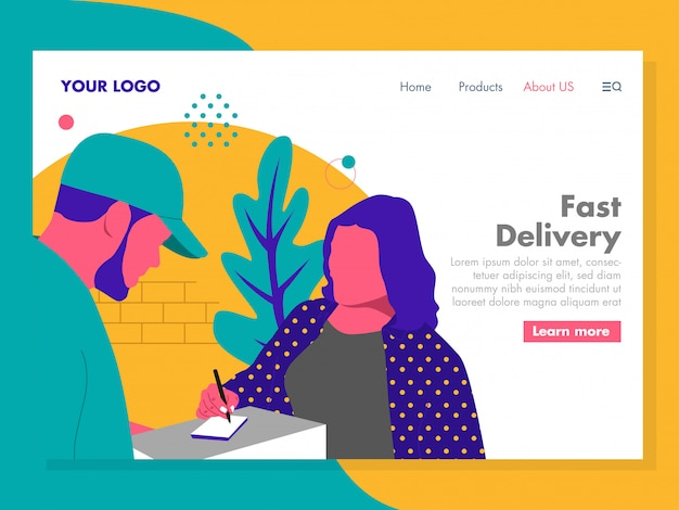 Fast delivery illustration for landing page
