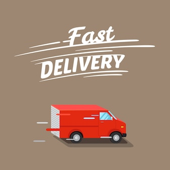 Fast delivery illustration, with isometric red van.