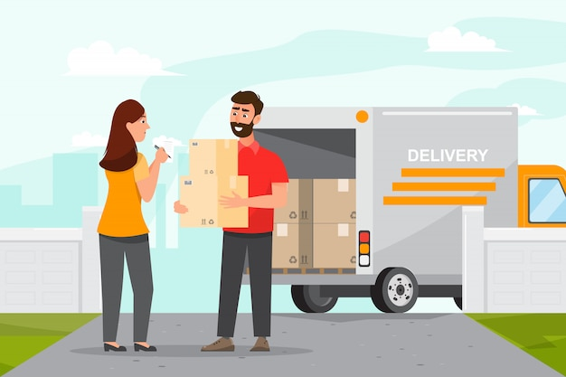 Fast delivery man by car. postman  illustration cartoon character flat style