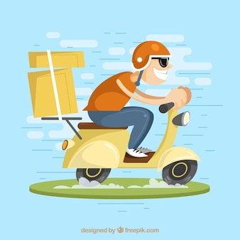 Fast delivery man on scooter