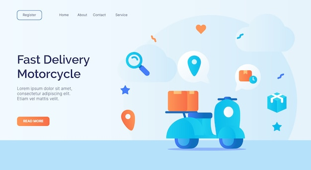 Fast delivery motorcycle icon campaign for web website home homepage landing template banner with cartoon flat style vector design.