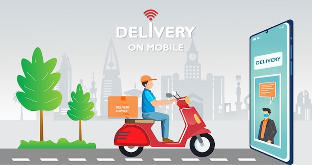 Fast delivery package by scooter on mobile phone order package in ecommerce by app tracking courier