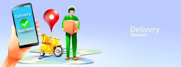 Fast delivery package by scooter on mobile phone or smartphone. illustration