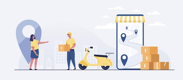 Fast delivery package by scooter on mobile phone.  tracking courier by map application. vector illustration