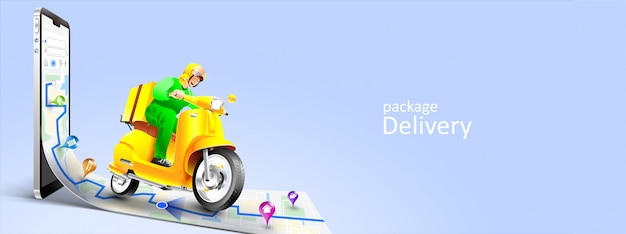 Fast delivery package by scooter on mobile phone. tracking courier by map application