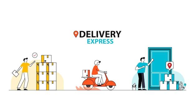 Быстрая доставка на самокате на мобильный телефон. заказать посылку в ecommerce через приложение.