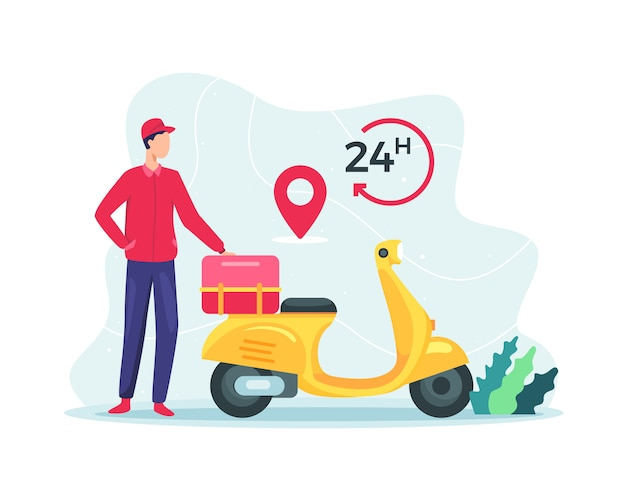 Fast delivery package by scooter