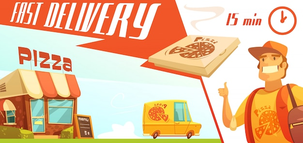 Fast delivery of pizza design concept with pizzeria courier yellow minibus