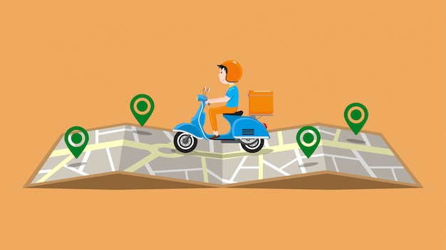 Fast delivery service by scooter illustration