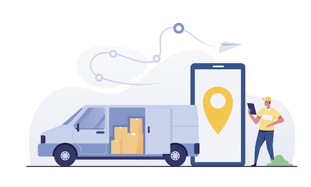 밴으로 빠른 배송 서비스를 제공합니다. 모바일 앱이 있는 스마트폰과 소포 더미가 있는 자동차.