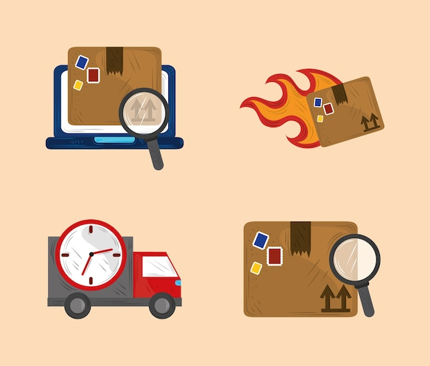 Fast delivery service icon set cargo shipment transport illustration