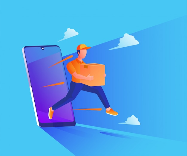 Fast delivery service with a smartphone illustration