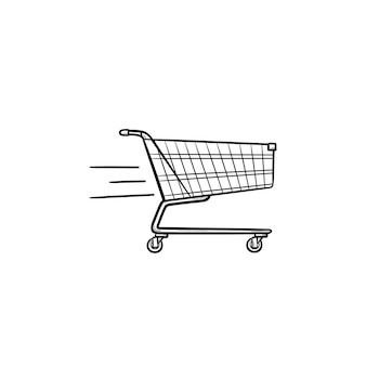 Быстрая доставка корзина рисованной наброски каракули значок. рынок, продажи, коммерция, продажа, бизнес-концепция. векторная иллюстрация эскиз для печати, интернета, мобильных устройств и инфографики на белом фоне.