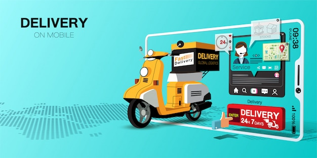 Fast delivery for shopping on mobile application by scooter
