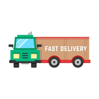 Fast delivery through big truck. concept of delivery lorry, traffic, receive, automobile, e-commerce, free delivery. isolated on white background. flat style trend modern design vector illustration