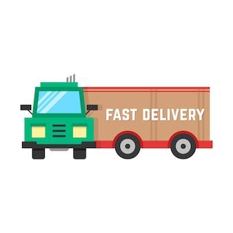 큰 트럭을 통한 빠른 배송. 배달 트럭, 교통, 수신, 자동차, 전자 상거래, 무료 배달의 개념. 흰색 배경에 고립. 플랫 스타일 트렌드 현대적인 디자인 벡터 일러스트 레이 션