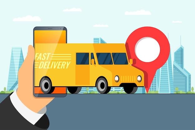 Концепция приложения для заказа быстрой доставки грузовиков рука держит смартфон с геотегом gps