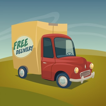 Fast delivery truck vector illustration.