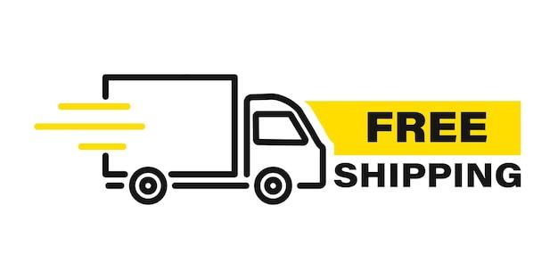 모션 라인이 있는 빠른 배달 트럭. 온라인 배달. 빠른 배송, 빠른 이동. 앱과 웹사이트를 위한 빠른 배송 트럭. 빠르게 움직이는 화물 밴. 크로노미터, 연중무휴 빠른 유통 서비스