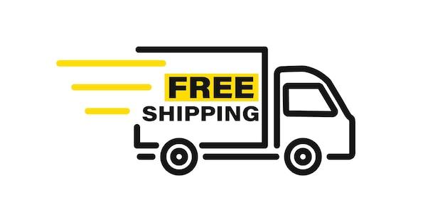 Грузовик быстрой доставки с линиями движения. доставка онлайн. экспресс доставка, быстрый переезд. грузовик быстрой доставки для приложений и веб-сайтов. грузовой фургон движется быстро. хронометр, быстрая доставка 24/7