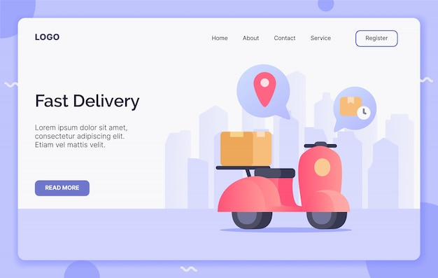 Fast delivery with scooter campaign concept for website template landing or home page website.modern flat cartoon style.