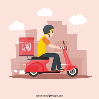 Fast deliveryman with scooter