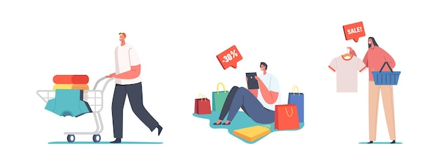 Fast fashion concept. shopaholic characters with trolley full of purchases and gifts. happy people with packages. buyers doing shopping. seasonal sale, discount coupon. cartoon vector illustration