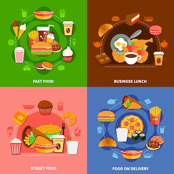 Fast food 4 flat icons square