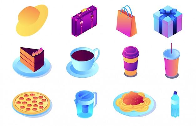 Фаст-фуд и напитки, покупки изометрическая 3d иллюстрации набор.