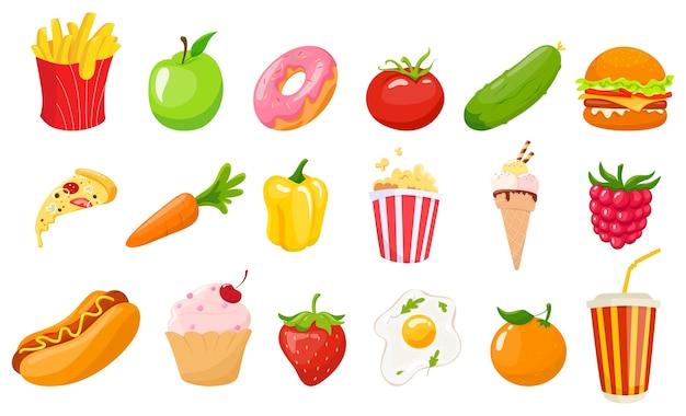 ファーストフードと健康的な食事のセット。ジャンクフード、ソーダ、ハンバーガー、ピザのスライス、健康的な野菜や果物。健康で不健康なライフスタイル。図