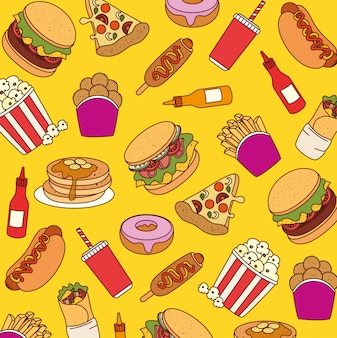 Fast food, background of delicious fast food