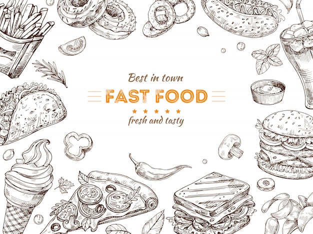 Фаст-фуд фон. эскиз, рисунок гамбургер, кола закуски. каракули мороженое, пицца и бутерброд. ресторан быстрого питания вектор плакат