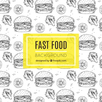 Fast food background with hand-drawn burgers
