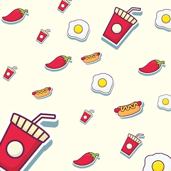 Fast food background with hot dogs and chilis