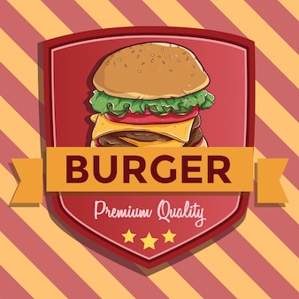 Fast food badge or banner with burger illustration and also with text premium quality