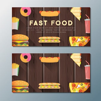 Fast food banner backdrops templates