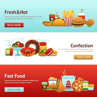 Fast food banner set