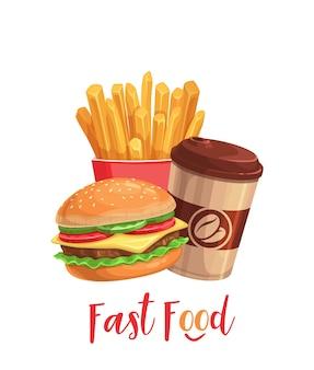 Баннер быстрого питания. уличная еда из кофейной чашки, гамбургера и картофеля фри. еда на вынос