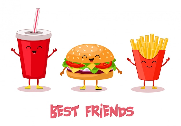 Fast food. best friends. stylized characters.   illustration.