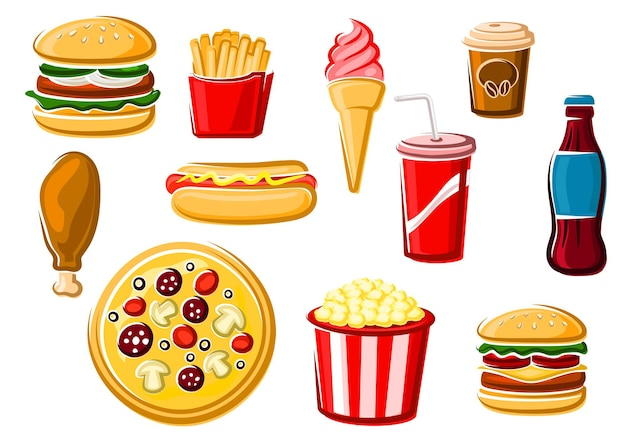 Fast food and beverage clipart set
