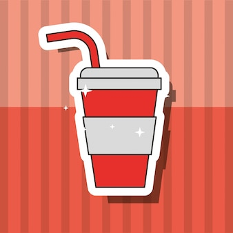 Fast food beverage soda in paper cup with straw