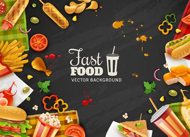 Fast food black background poster