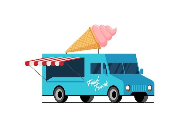 밴 지붕 달콤한 에스키모 자동차 배달 서비스 또는 축제에 패스트 푸드 블루 트럭 아이스크림 와플 콘