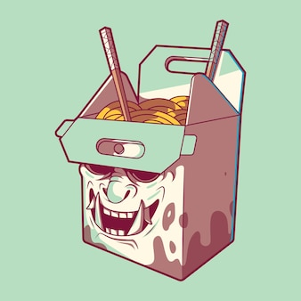 Fast food box samurai  illustration. fast food, delivery, funny design concept.